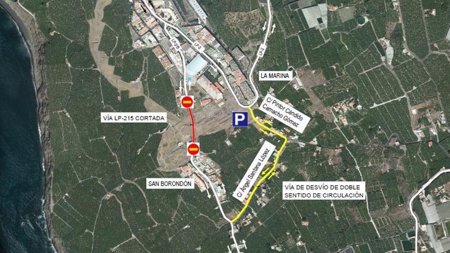 Cierre provisional de un tramo de la vía LP-125 para avanzar en la obra del nuevo acceso al Puerto de Tazacorte