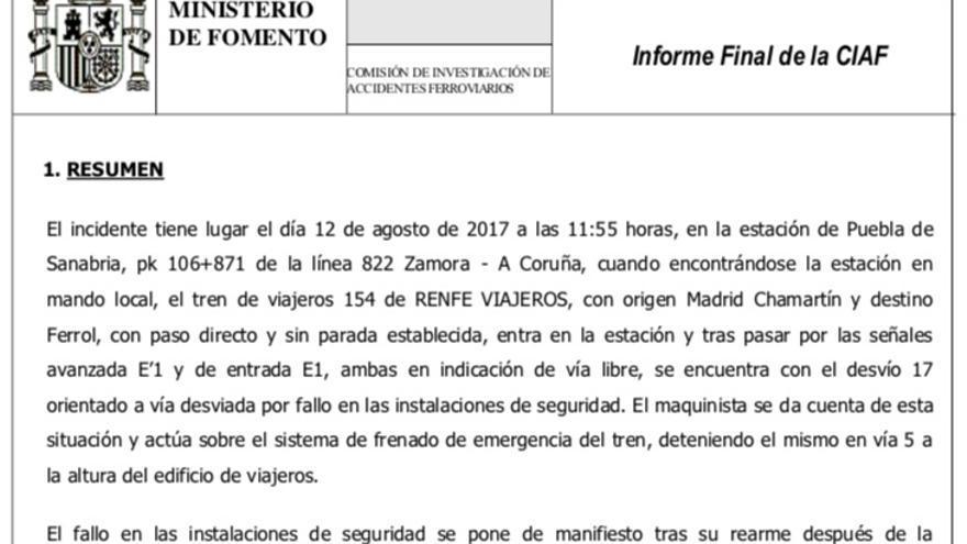 Resumen del incidente sufrido por un Alvia en agosto de 2017 en Puebla de Sanabria