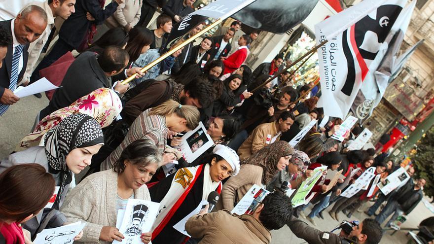 Protesta contra los ataques sexuales a mujeres en El Cairo, 12 de febrero de 2013 © Bora S. Kamel