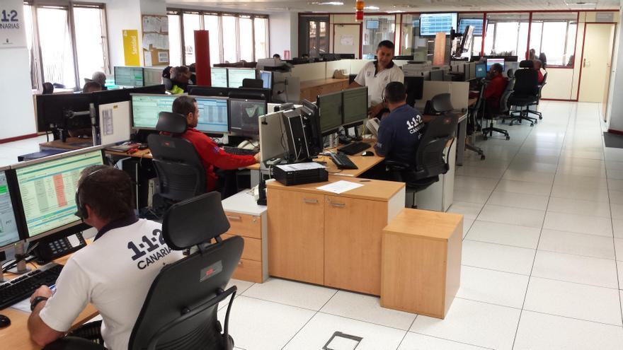 Sala Operativa del Centro Coordinador de Emergencias y Seguridad del Gobierno de Canarias  (Cecoes) en Santa Cruz de Tenerife.
