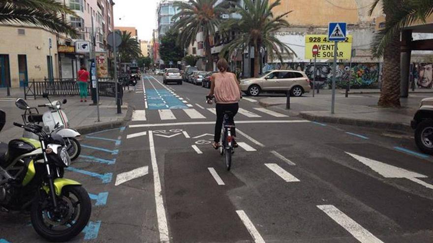 Carril bici en Franchy Roca, Las Palmas de Gran Canaria