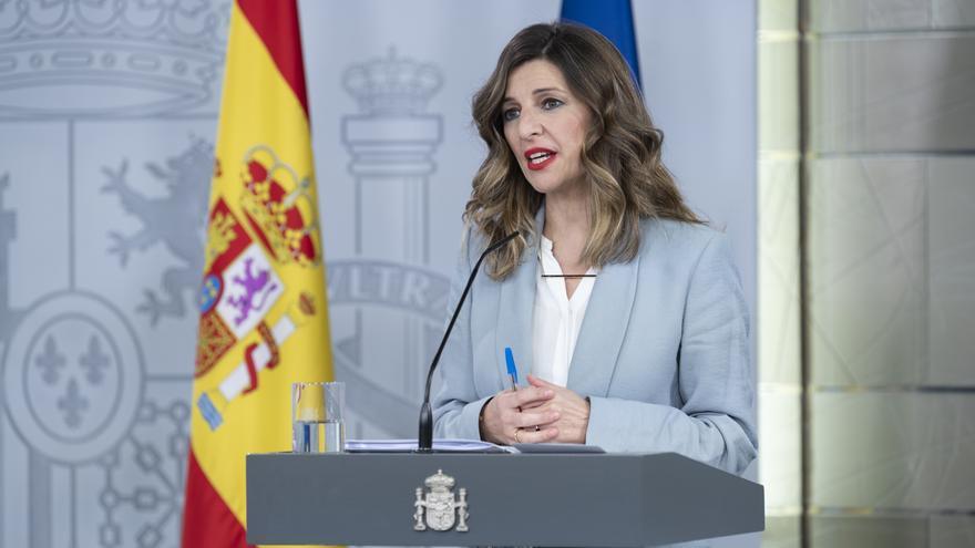 La ministra de Trabajo, Yolanda Díaz, comparece tras el Consejo de Ministros.