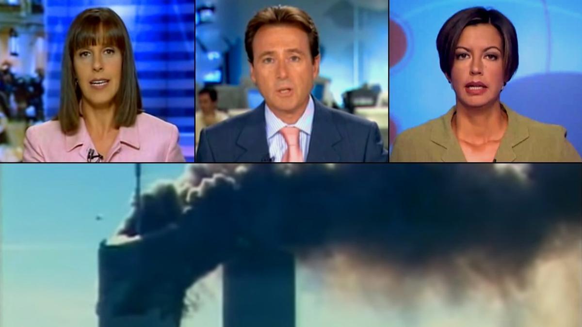 Ana Blanco, Matías Prats y Àngels Barceló en la retransmisión del 11-S
