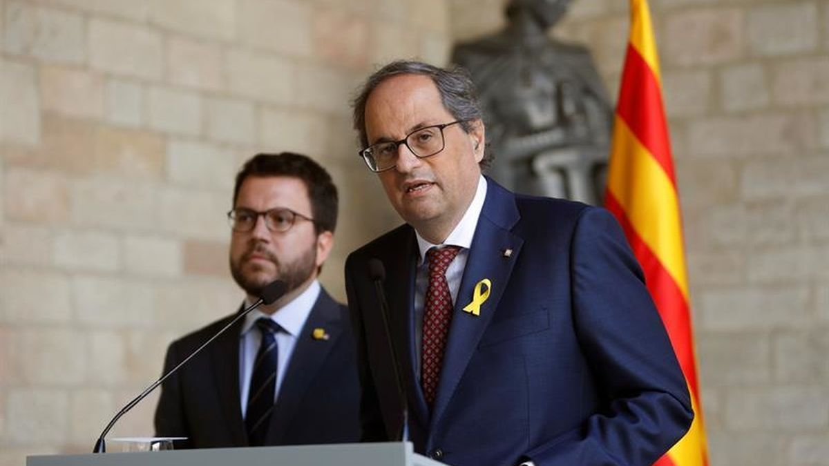 El president Torra, junto a Aragonès, en una fotografía de archivo