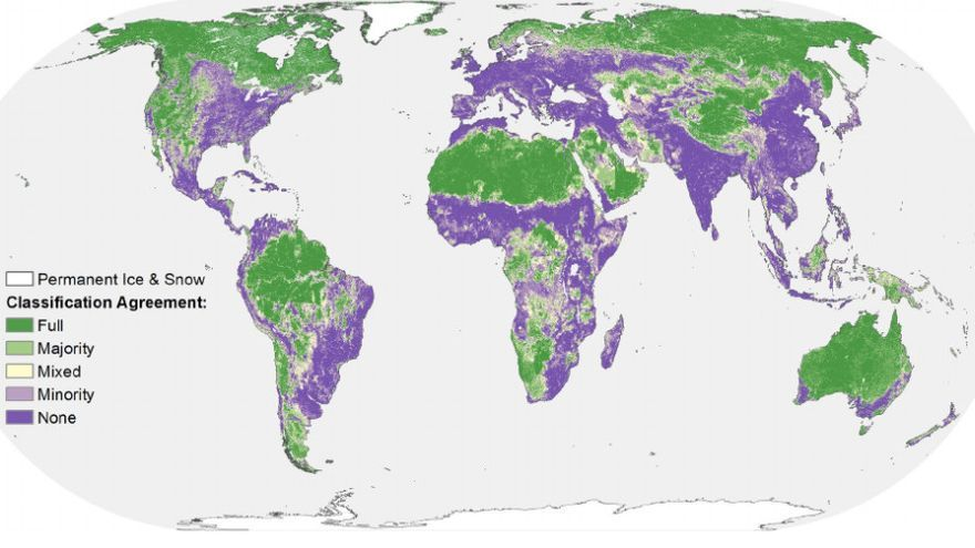 Mapa de las zonas de bajo impacto humano en los ecosistemas terrestres.