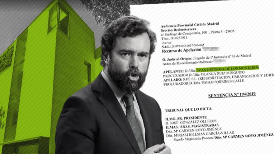 El dirigente de Vox Iván Espinosa de los Monteros con una imagen de su casa y la sentencia.