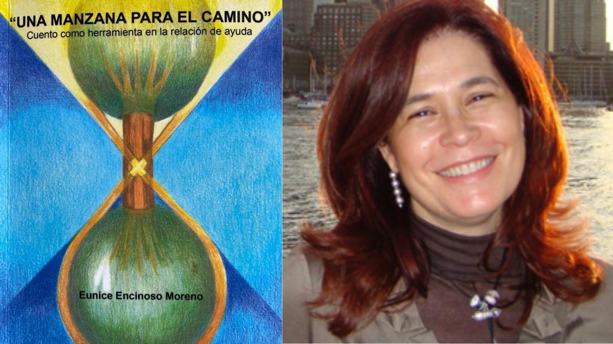 Eunice Encinoso y la portada de su cuento.