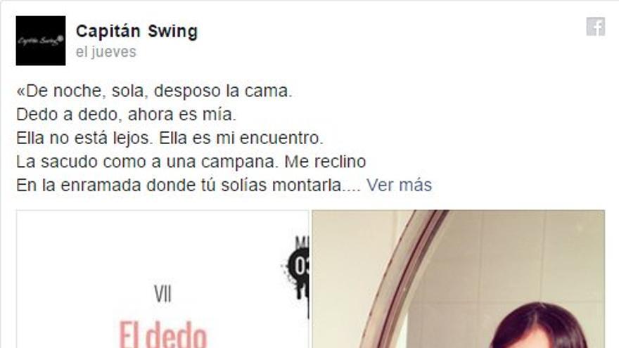 Post publicado por la editorial Capitán Swing en Facebook anunciando el nuevo libro de Luna Miguel