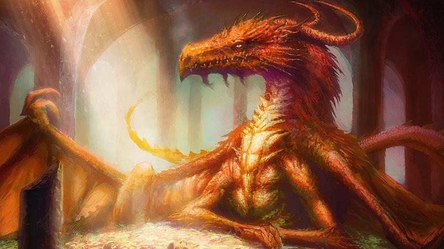Smaug es un dragón que aparece en la novela El hobbit, de J. R. R. Tolkien