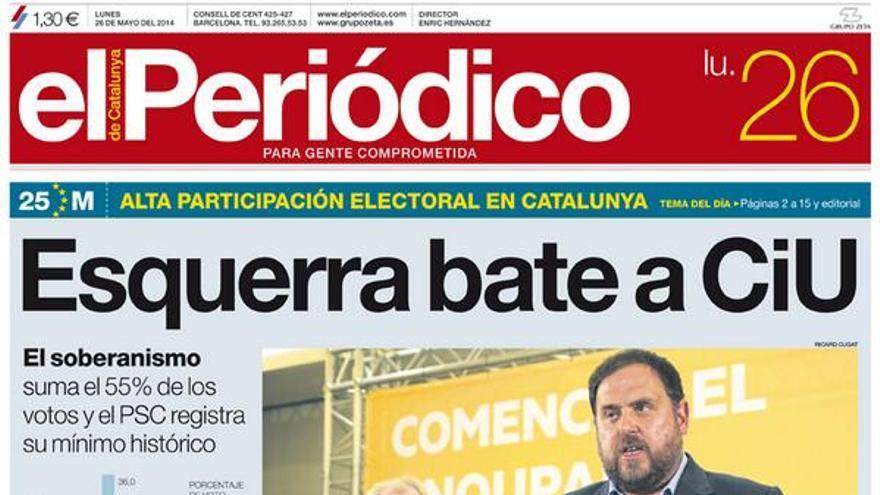 Portada de El Periódico de Cataluña del 26 de mayo de 2014