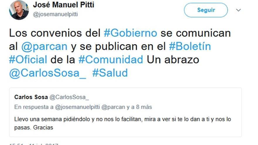 Twit del diputado de Coalición Canaria José Manuel Piti