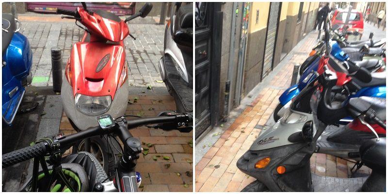 Imágenes de motos aparcadas de forma ilegal en Malasaña | MARTÍN BARTOLOMÉ