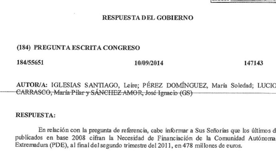 Respuesta del Gobierno a la pregunta de los socialistas sobre la financiación de Extremadura