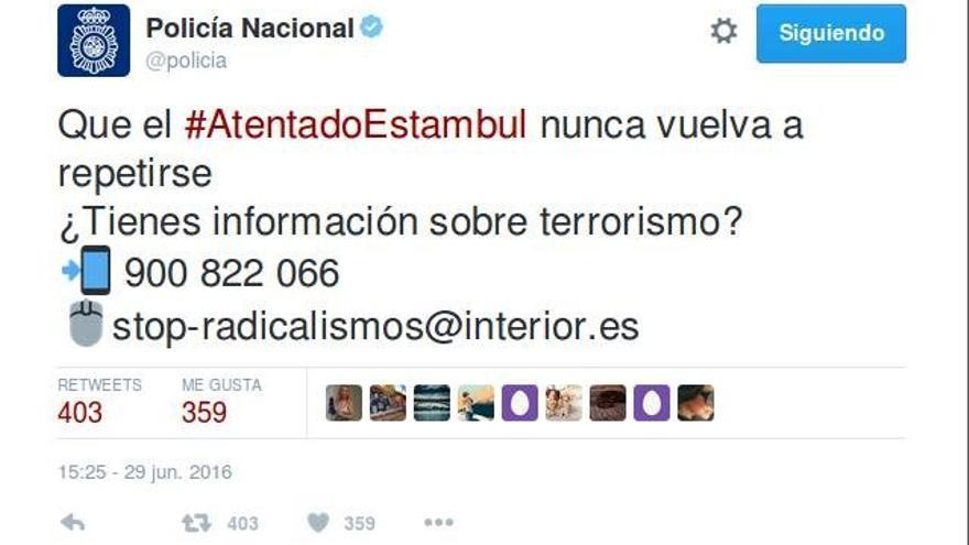 Tuit de la Policía Nacional tras los atentados de Estambul.