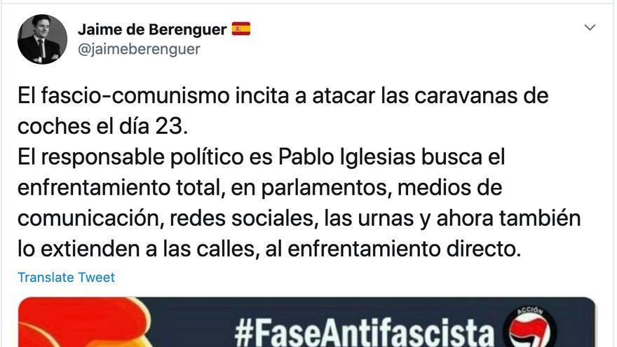 La extraña convocatoria para una acción violenta contra Vox: solo la comparten grupos de derecha, como el diputado autonómico de Vox en Madrid Jaime de Berenguer.