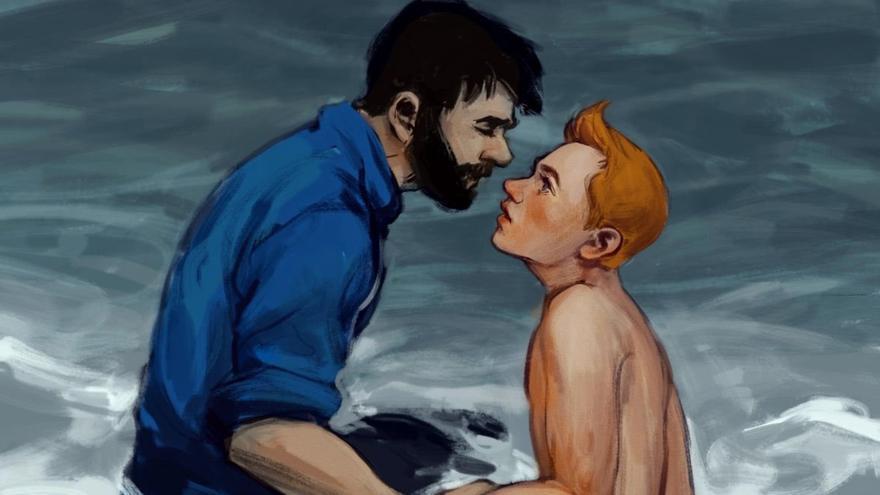 Una imagen llevada a cabo por fans imaginando una relación entre el Capitán Haddock y Tintín.