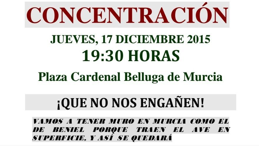 Pro Soterramiento convoca una nueva protesta en Murcia