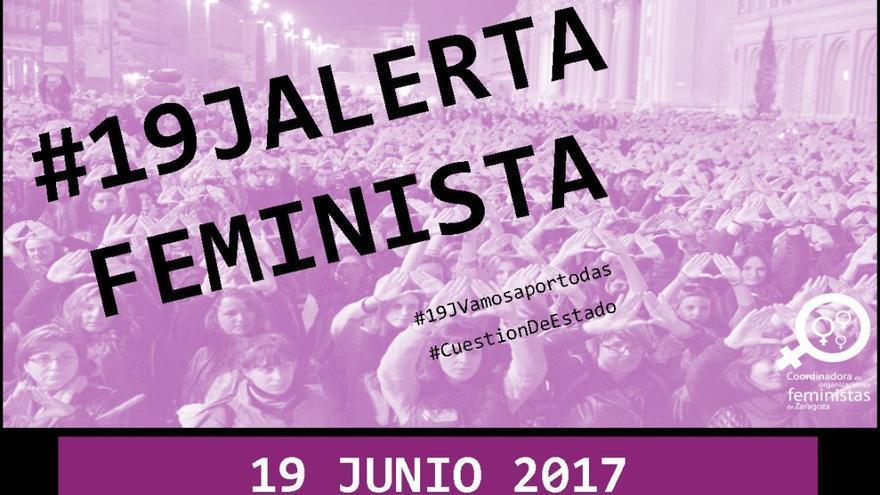 Cartel de la convocatoria del 19J de la Coordinadora de Organizaciones Feministas de Zaragoza.