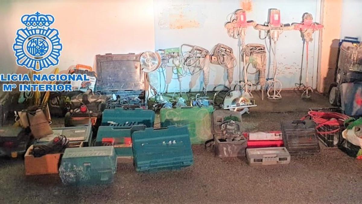 Material de obra robado y recuperado por la Policía Nacional