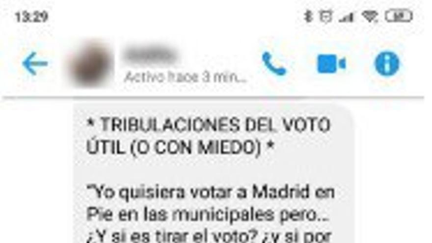 Cadena con cifras falsas que pide el voto para Madrid en Pie.