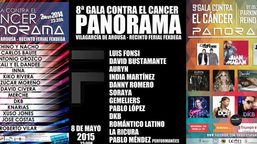 Carteles de galas contra el cáncer organizados por la Orquesta Panorama.