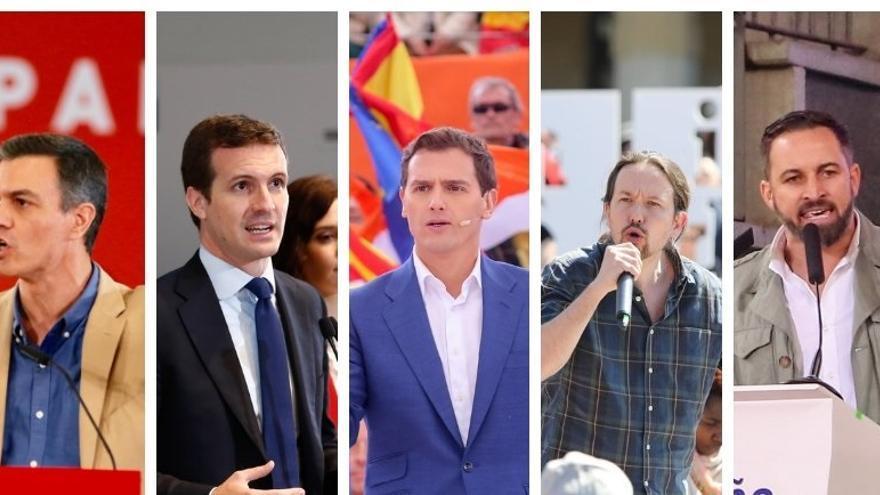 Sánchez, Casado, Rivera y Abascal eligen Madrid para cerrar la campaña mientras que Iglesias viaja a Tenerife