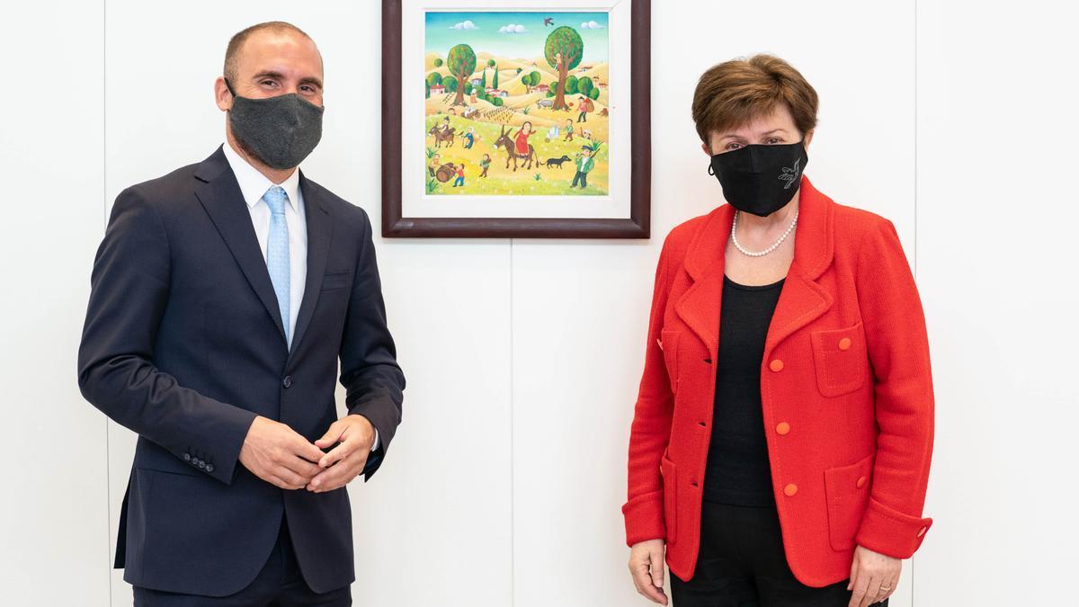 El ministro Martín Guzmán y la jefa del FMI, Kristalina Georgieva, en Washington