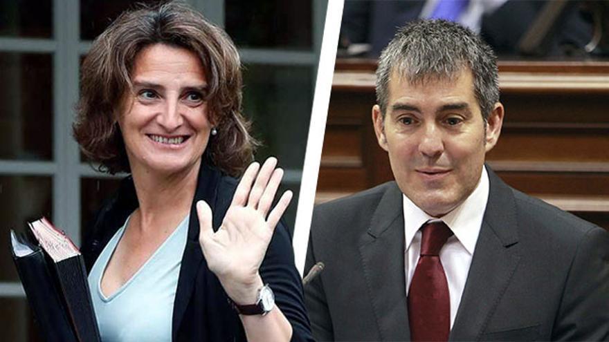La ministra de Transición Ecológica, Teresa Ribera, y el presidente de Canarias, Fernando Clavijo