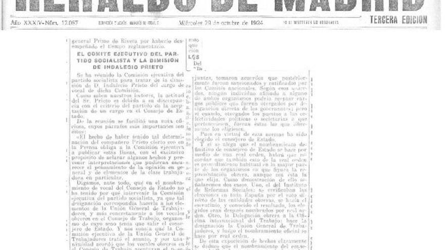 Portada del Heraldo de Madrid del 29 de octubre de 1924.