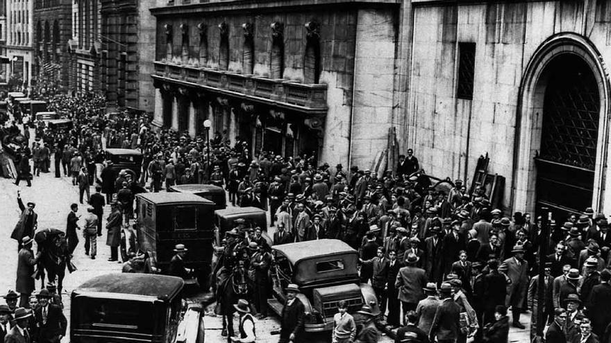 Wall Street el 24 octubre 1929, cuando quebró la bolsa