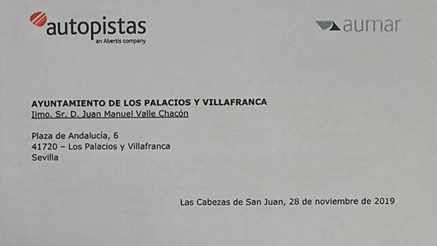 Carta recibida por el Ayuntamiento de Los Palacios y Villafranca