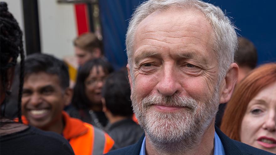 Jeremy Corbyn en la manifestación de bienvenida a los refugiados el pasado 12 de septiembre en Londres. PHOTO: RonF