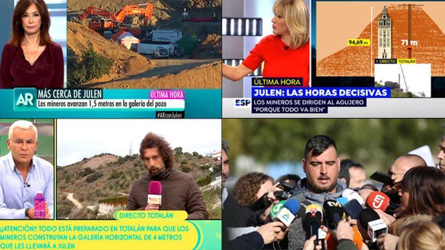 Cobertura en TV del rescate de Julen
