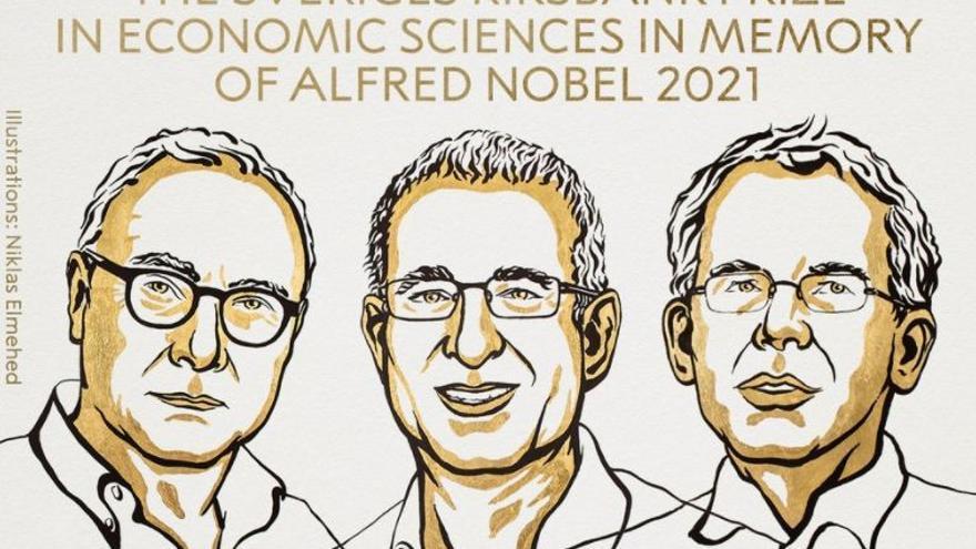 David Card, Joshua D. Angrist y Guido W. Imbens, galardonados con el Premio Nobel de Economía 2021.