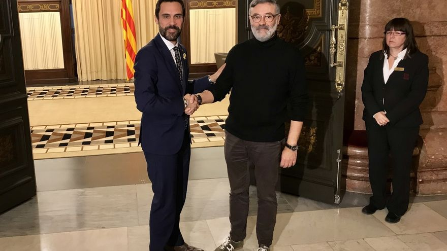 El presidente del Parlament se reúne con el portavoz de la CUP, Carles Riera
