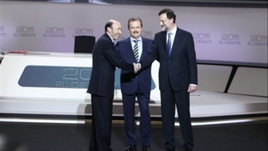Alfredo Pérez Rubalcaba Y Mariano Rajoy En El Debate Electoral De Cara Al 20N