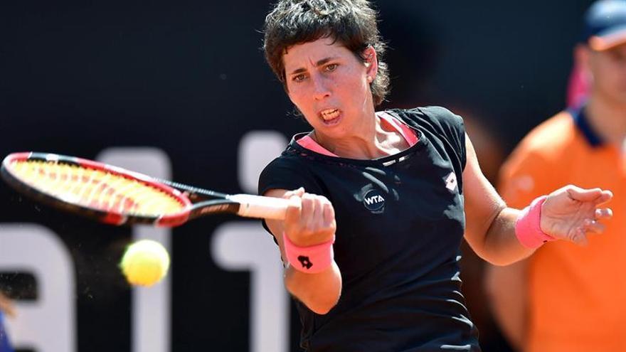Carla Suárez en la final ante Sharapova (EFE/ETTORE FERRARI)
