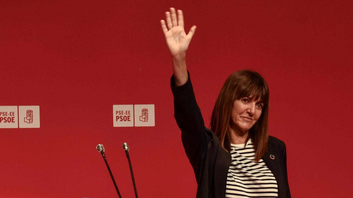 La secretaria general del PSE, Idoia Mendia, este martes en Bilbao