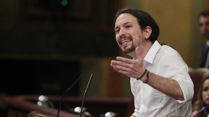 El secretario general de Podemos, Pablo Iglesias, en el debate de investidura, el 2 de marzo de 2016.