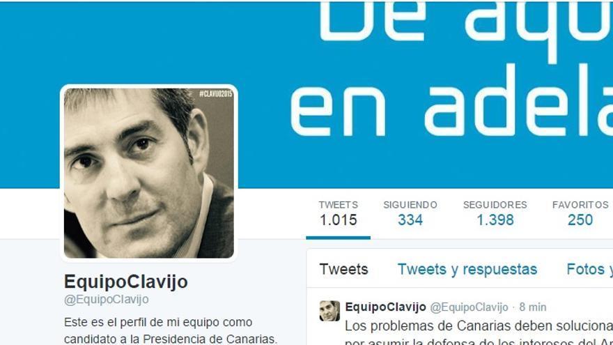 Pantallazo de la cuenta de Twitter del Equipo Fernando Clavijo