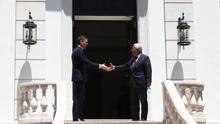 Pedro Sánchez junto al primer ministro portugués, Antonio Costa, antes de una reunión este lunes 6 de julio.