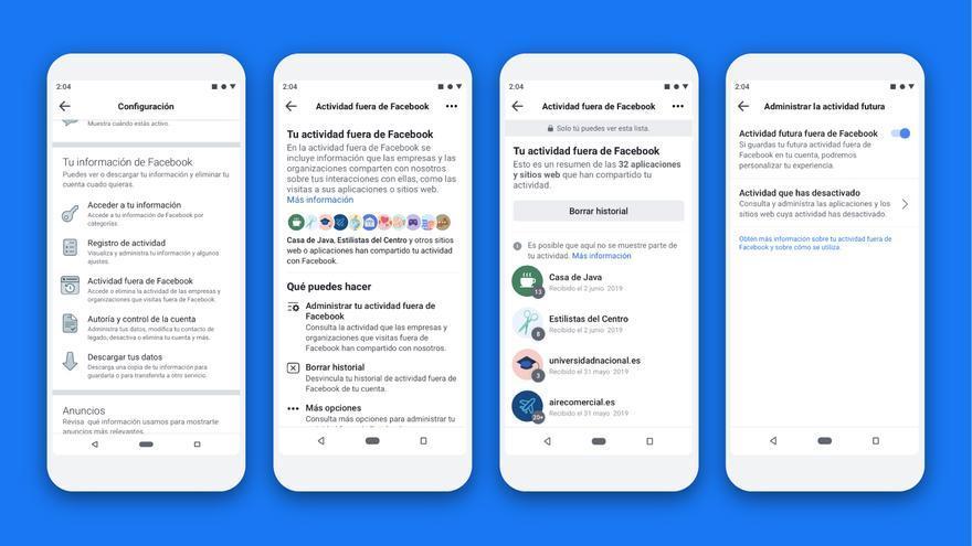 """Capturas de la nueva herramienta, """"Actividad fuera de Facebook"""", publicadas por la compañía."""