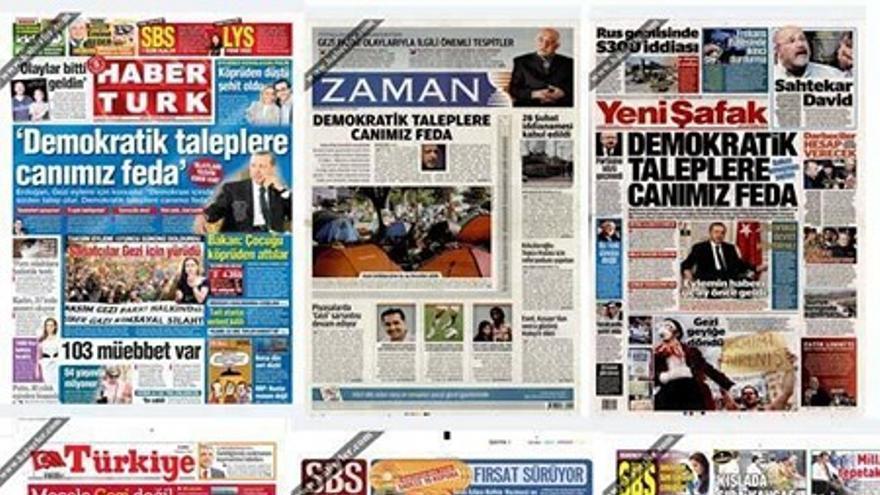 Prensa turca tras el discurso de Erdogan, el 7 de junio de 2013 (Juan Luis Sánchez)