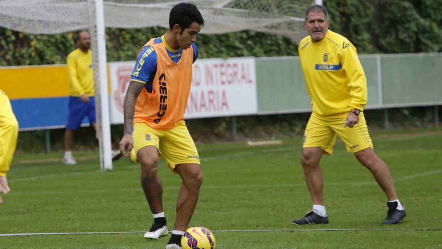Sergio Araujo, en un entrenamiento con la UD Las Palmas | Carlos Díaz Recio/udlaspalmas.es