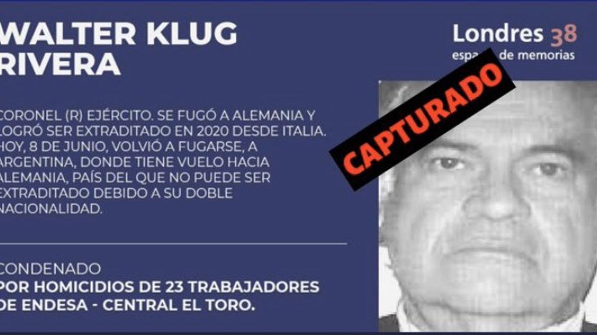 La organización Londres 38 había denunciado la fuga de Walter Klug Rivera