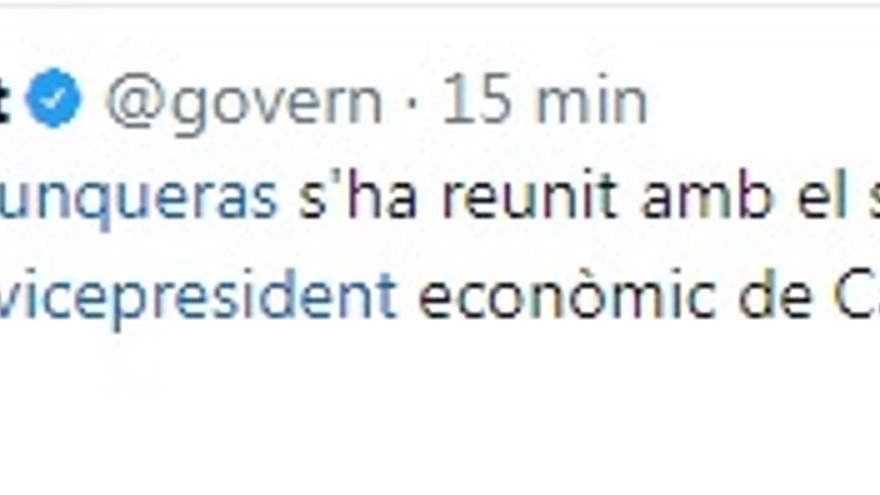 El tuit del Govern de Catalunya que 'nombra' a García Molina como 'vicepresidente económico' de Castilla-La Mancha