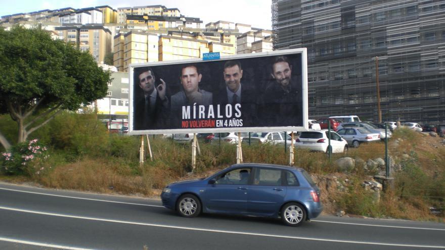 Valla publicitaria con la campaña de Nueva Canarias