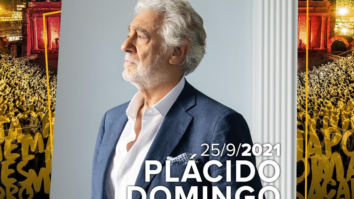 Cartel anunciador de Plácido Domingo en el Stone & Music que empezará el 27 de agosto en el Teatro Romano del Mérida