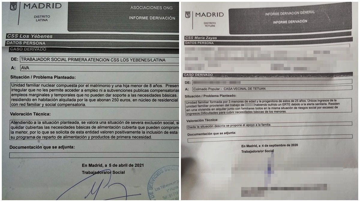 Dos de los casos de familias necesitadas derivadas a asociaciones vecinales por parte de trabajadores sociales de distintos distritos de Madrid