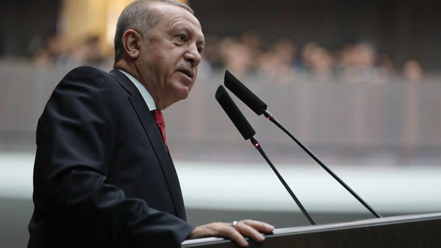 El presidente turco, Recep Tayyip Erdogan, en la reunión de su partido de este martes